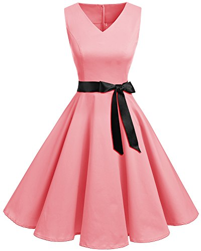 Bridesmay Damen Vintage 1950er Rockabilly Ärmellos Retro Cocktailkleid Partykleid Blush M