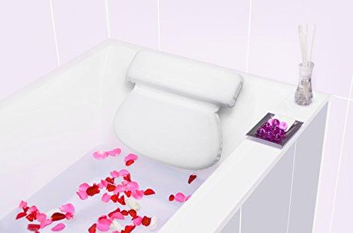 Bach & Berg Badewannenkissen | Weicher Badewannenpolster für eine traumhafte Zeit in der Badewanne oder im Whirlpool mit Nackenkissen | Wannenkissen mit starken Saugnäpfen zur Erholung im Home SPA |