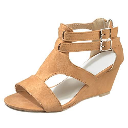 B-commerce Damen Strap Wedges Zipper Sandals - Sommer Retro Casual Bandage Einfache Schuhe Gladiator Roman Aushöhlen Sandalen Damen Runde Zehe Basic Sandale