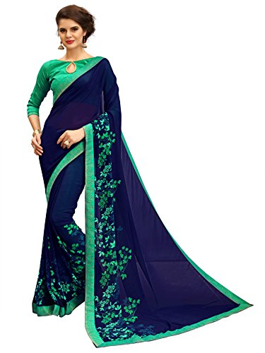 Tagline Women's Georgette Saree With Blouse Piece (Tag12011,Blue,Free Size)