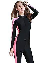 Fortuning's JDS® Filles & dames UPF 50+ longue maillots de bain manche pleine de maillot de corps pour des vacances d'été avec des tampons de soutien-gorge