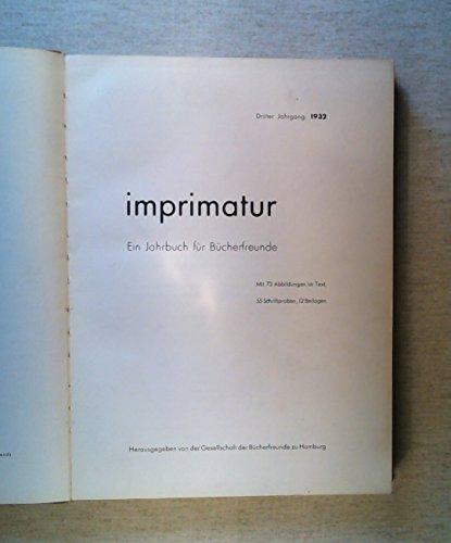 Imprimatur. Ein Jahrbuch für Bücherfreunde. Dritter Jahrgang 1932