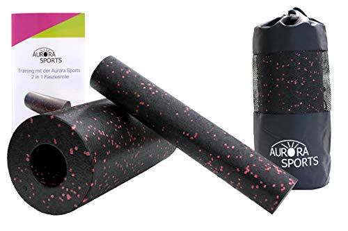 Aurora Sports Faszienrolle 2 in 1 Set Pink/Rot mit Anleitung und Tragetasche, auch bekannt als Massagerolle und Foam Roller