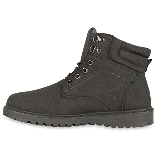 Herren Worker Boots Outdoor Schuhe Warm Gefüttert Profil Sohle Grau