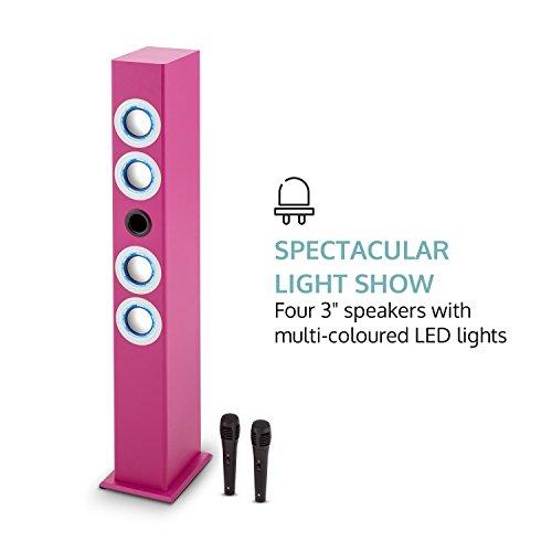 oneConcept Tallgirl • Karaoke Anlage • Karaoke Player • Karaoke Set • Turmlautsprecher • vier Breitbandlautsprecher • Bassreflex • Bluetooth • 2 x Kabelmikrofon • 1000 mAh Akku • Radio-Tuner • USB-Port • MP3-fähig • AUX-IN • LED-Effektbeleuchtung • pink - 7