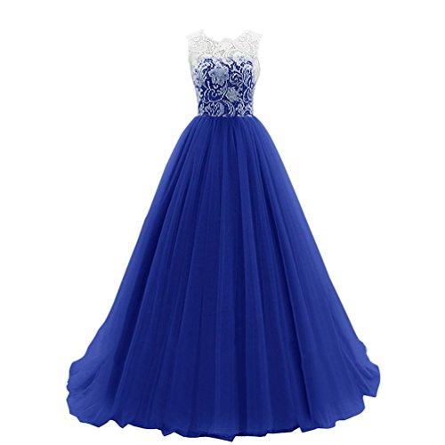 ZKOO Mujer Encantador Vestido de Fiesta Largo Lentejuelas Corazón Dulce Sin Mangas Azul Oscuro S
