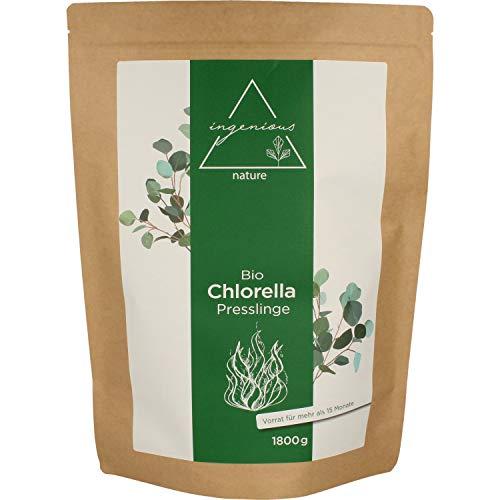 ingenious nature® Laborgeprüfte Bio Chlorella Presslinge - 18 Monats Vorrat - aus reinem Chlorella Pulver ohne Zusätze - 3600 Presslinge je 500mg (44,39€/kg)