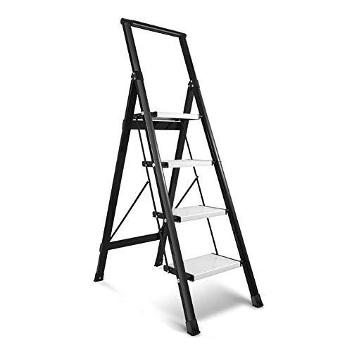 LXF Stehleitern Schwarze Trittleiter mit Handlauf, Aluminiumlegierung 4-fach Klappleiter Breites Pedal Rutschfeste Treppe Im Haushalt
