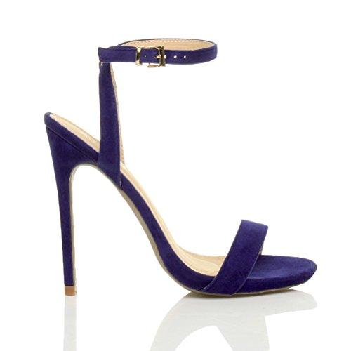 Femmes haute talon fête à peine là boucle lanières sandales chaussures pointure Bleu De Cobalt Daim