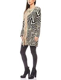 ashley brooke feminine Damen Long-Jacke Trend-Jacke Casual-Jacke Schwarz-Weiß