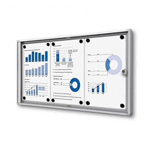 Metall Beschichtetem Rahmen (Schaukasten 3x A4 Alu silber Infokasten magnetisch Innen 3xA4 Schaukasten)