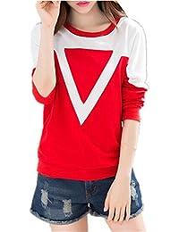 Gogofuture Felpa Donna Comode Taglie Forti Allentato Pullover Elegante  Sweatshirt T-Shirt Manica Lunga Blusa b02a1469a1e