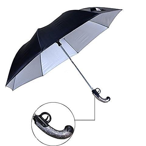 podofo® Pistolet Forme Parapluie automatique Pistolet à platine à silex coupe-vent pliable compact de voyage (Noir)