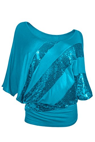 YMING Damen Casual Bluse Fledermaus Batwing Shirt Sommer T-Shirt Loose Tunika Plus Größe,Himmel Blau,XXXL (Ärmel Himmel, Blauer Lange Jersey)