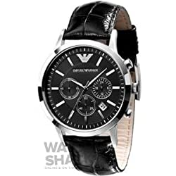 Emporio Armani Men's AR2447 Stainless Steel Leather Strap, Watch
