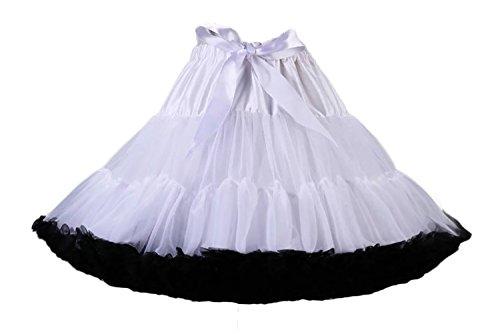 Rock Und Kostüm Roller - Aysimple Damen Puffy Chiffon Tütü Petticoat Tüllrock Unterrock Tüll Petticoats 50s Rock&Rol lWeiß Schwarz