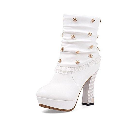 AgooLar Damen Rein Hoher Absatz Schließen Zehe Ziehen auf Stiefel mit Fransig, Cremefarben, 39