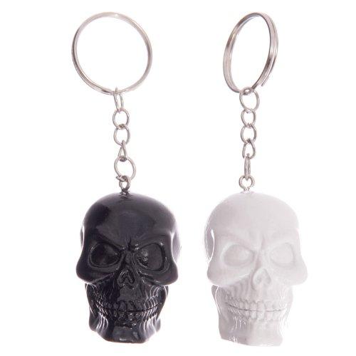nkopf Schlüsselanhänger,Black & White Skull Keychain,Llavero de calavera negro y blanco ()