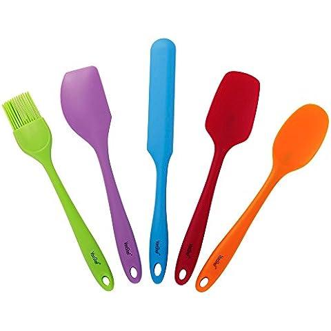 Set de 5 Piezas de Utensilios Multicolor de Repostería VonShef Premium en Silicona Resistente al Calor con Cuchillo Paleta, Espátula Cuadrada, Espátula Curva, Cuchara de Servir y
