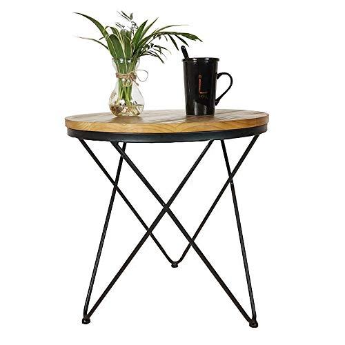 Schreibtische HAIZHEN Eisen Beistelltisch Massivholz Countertop Kleine Couchtisch Dreieckige Unterstützung Unterstützung Kleine Runde Tabelle, 48 * 50 cm Klapptisch (48 Klapptisch Runde)