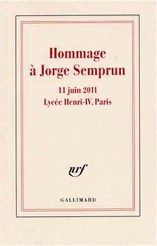 Hommage  Jorge Semprun: 11 juin 2011 - Lyce Henri IV, Paris