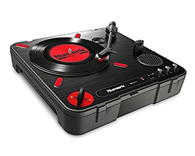 Numark PT01 Scratch Portable DJ Turntable with Adjustable Scratch Switch, Built-In Speaker and RCA + Headphone Outputs (Battery or Mains Powered)