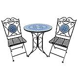 Outsunny Set da Pranzo da Giardino 3 Pezzi Tavolino e 2 Sedie Pieghevoli, Metallo