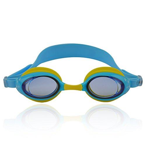 »Zippo« Kinder-Schwimmbrille / 100% UV-Schutz + Antibeschlag / Starkes Silikonband + stabile Box / AF-8700 / hellblau/gelb