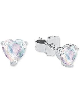 Prinzessin Lillifee Kinder-Ohrstecker Ohrringe Mädchen Herz 925 Sterling Silber rhodiniert Zirkonia mehrfarbig