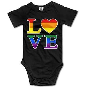 Body de Manga Corta para bebé Mono Gay Love Rainbow Heart Gay&Lesbian Pride Baby Girls/Boys Short Sleeve Bodysuit Asimple Joys Jumpsuit Button Climbing Suit Gift 14