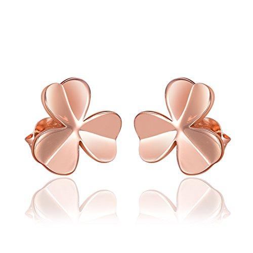 YC Top felicità Erba 18K Rosa placcato oro donna orecchini a perno