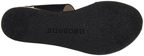 Neosens Donna S504 Pelle Restaurata Sandali T-strap Corton Nero (ebano)