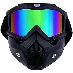 TedGem Masque Moto Masque Noir et Lunette, Masque de Moto Lunettes Détachables et Filtre de Bouche pour le Casque de Visage Ouvert Snowboard de Ski Motocross (coloré)