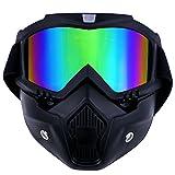 TedGem - Maschera con occhiali protettivi rimovibili e filtro per la bocca, per casco 'Open Face' da motocross, sci e snowboard