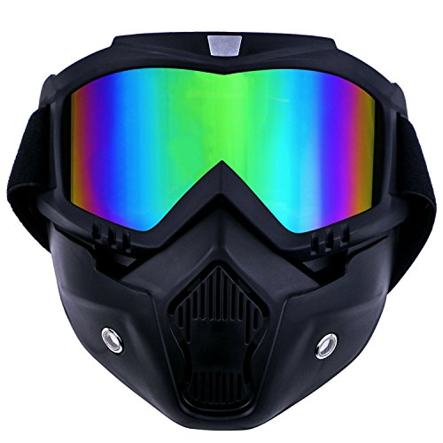 TedGem Maschera per snowboard sci moto motocross, snowboard, maschera motocross con filtro per bocca per l'aperto, scomponib