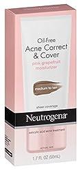 Neutrogena Acne Correct/Cover Moisturizer Medium Tan 1.7 Ounce (50ml)