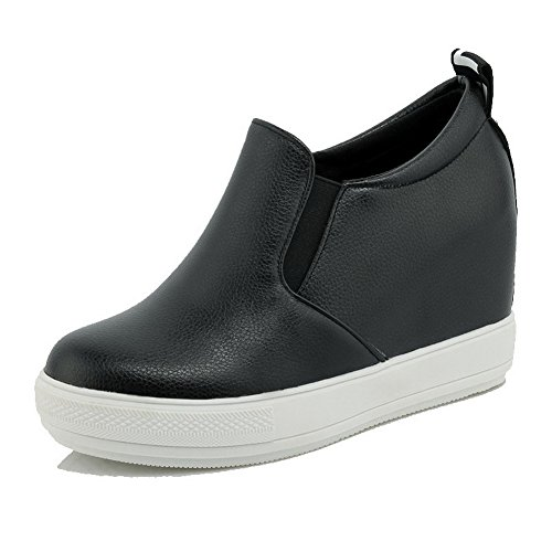 AgooLar Femme à Talon Haut Couleur Unie Tire Matière Souple Rond Chaussures Légeres Noir