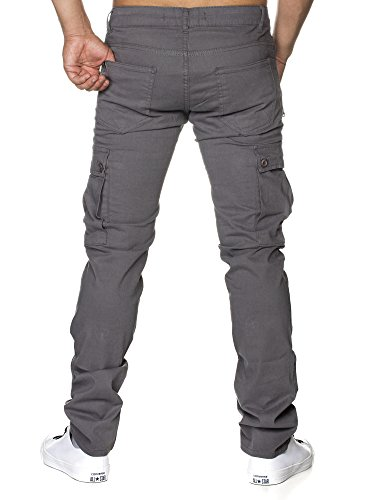 TAZZIO Slim Fit Biker Style Herren Stretch Chino Hose Denim 16507 Grau