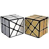 OJIN MoYu MOFANGJIAOSHI Aula DE Cubo MFJS Conjunto de Cubo de Molino de Viento de Espejo Bloque de Espejo 3x3 Cubo de Velocidad de Cubo de Espejo de Viento Puzzle de Cubo de Oro y Plata Paquete de 2