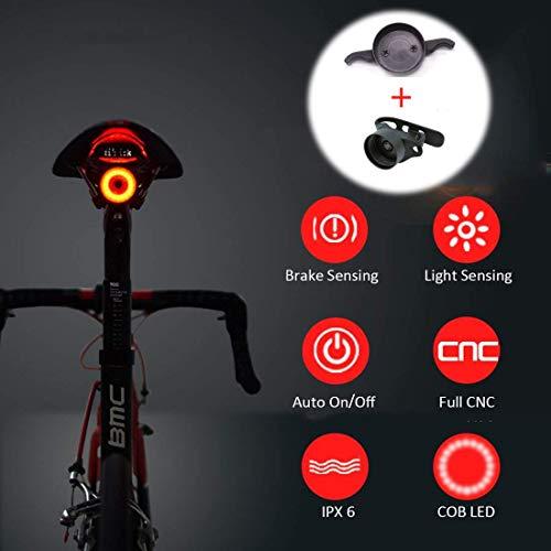 batterie a bottone CR2032 adatto a tutte le biciclette fanale anteriore e posteriore Set di luci a LED per manubrio con anello in gomma elastica