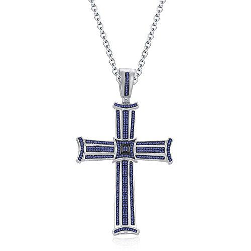 silvernshine Jewels 3Reihe 14K Weiß Gold FN Tansanit CZ Diamanten Micro pave Kreuz Anhänger Halskette (Halskette Kreuz Tansanit)