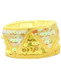 """The Olivia Collection Yellow Tone Sequin and Bead 7.5"""" Cuff Band"""
