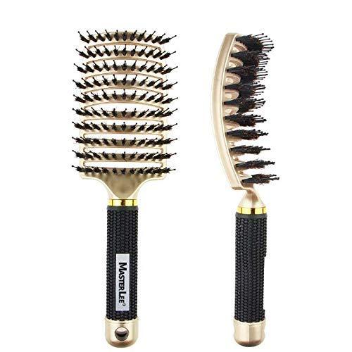 Haarbürste Wildschweinborsten Trocknen Nasse Haare Detangler für Damen Herren Lange, Dicke, Lockige Haare (Lockiges Haar Herren)