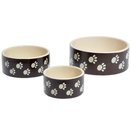 hundeinfo24.de Katzen & Hunde Keramik Napf mit Pfotenmotiv, Braun/Beige, 250ml