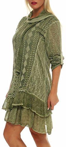 malito Robe avec écharpe Cardigan Irregular Gilet Veste Enrouler Boléro Pulls Casual 6283 Femme Taille Unique vert clair