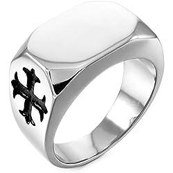MunkiMix Acero Inoxidable Anillo Ring Plata Tono Negro Celta Celtic Medieval Cruzar Cruz Talla Tamaño 17 Hombre