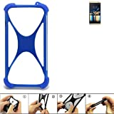 K-S-Trade Bumper für Switel Champ S5003D Silikon Schutz Hülle Handyhülle Silikoncase Softcase Cover Case Stoßschutz, blau (1x)