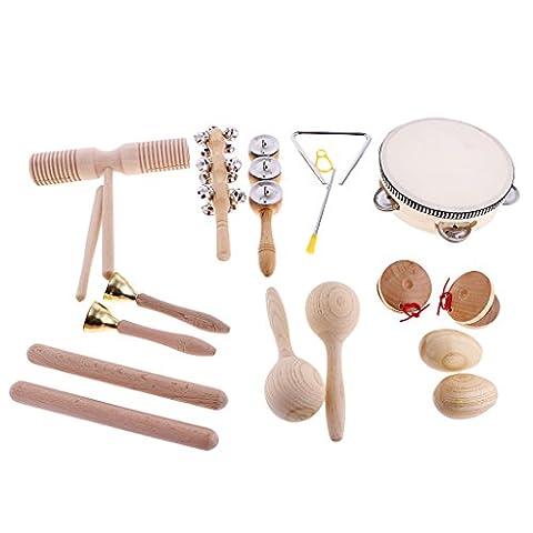 Gazechimp Set 10pcs Instruments de Musique Percussion Bébé Enfant en Bois Jouet Musical Cadeau Créatif