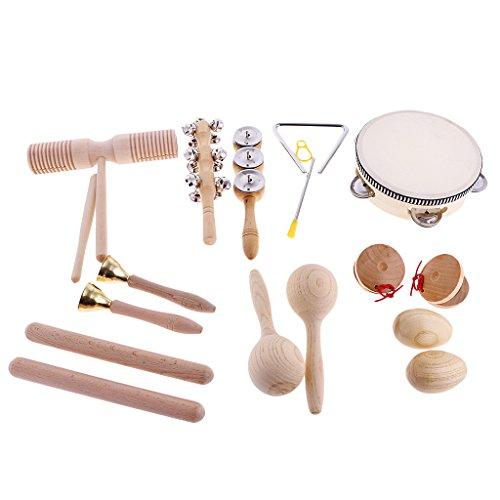 10er-Set Kinder Mini Musikinstrument( Hand Tamburin + Sand Hammer + Kastanisch + Sand Ei + Rassel + Becken +Rhythmus-Dreieck + Rhythmusstöcke + Tinkle Bell + Sound Guiro )