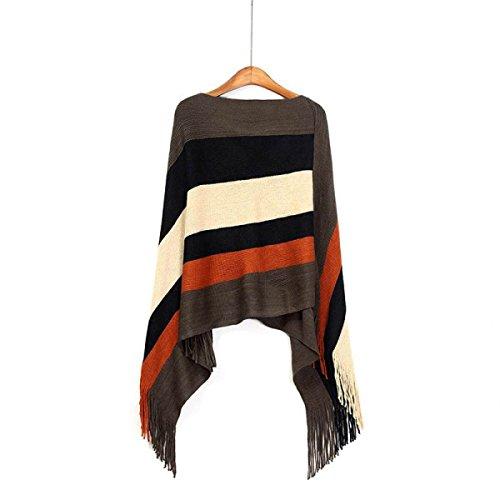 QPALZM Donne Mantello Vintage Cappotti Bohemian Sciarpa Sferata Sciarpa Rettangolare Striscia Sorgente Brown